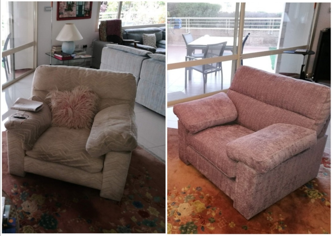 ריפוד רהיטים - ריפוד כורסא - כורסא בתהליך ריפוד ברסטורנו